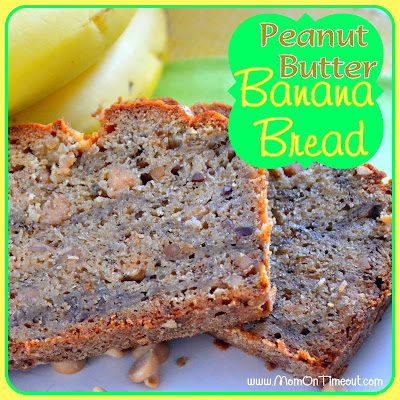 Peanut Butter Banana Bread | Mom On Timeout - So delicious and a great way to start your day! #breakfast #recipe