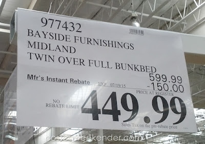 Deal for the Bayside Furnishings Midland Twin Over Full Bunk Bed at Costco