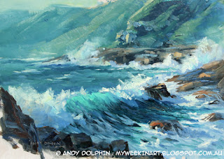 Plein air seascape sketch in oil by Andy Dolphin.
