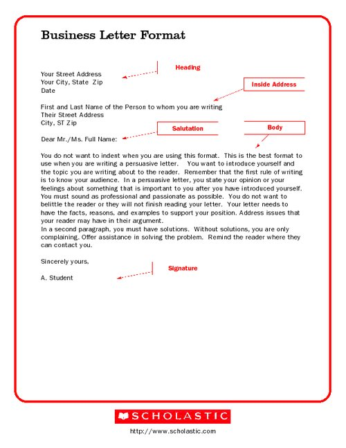 formal letter format for students. format for a Letter