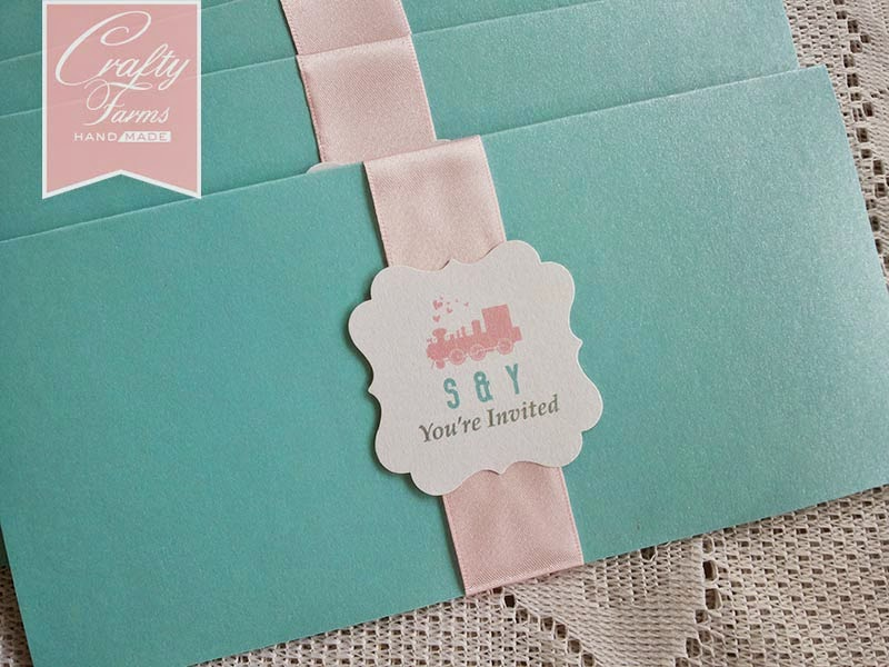 Sweet Pastel Train Ticket wedding card