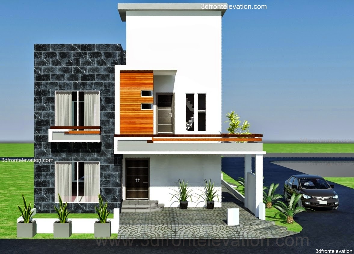 Front elevation of 5 marla houses photos compulsory for Canal front house plans