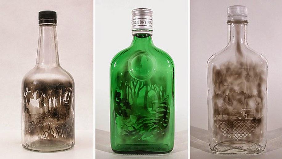 Smoke-filled glass bottles