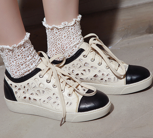 Laser Cut Baroque Contrast Toe Sneakers