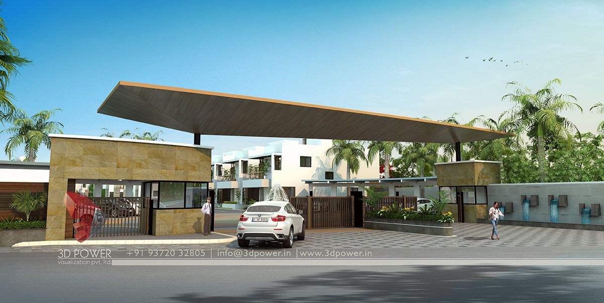 Corporate building design 3d rendering realistic for Home gateway architecture