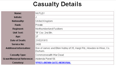Joseph Nutley's entry on the Commonwealth War Graves Commission Website