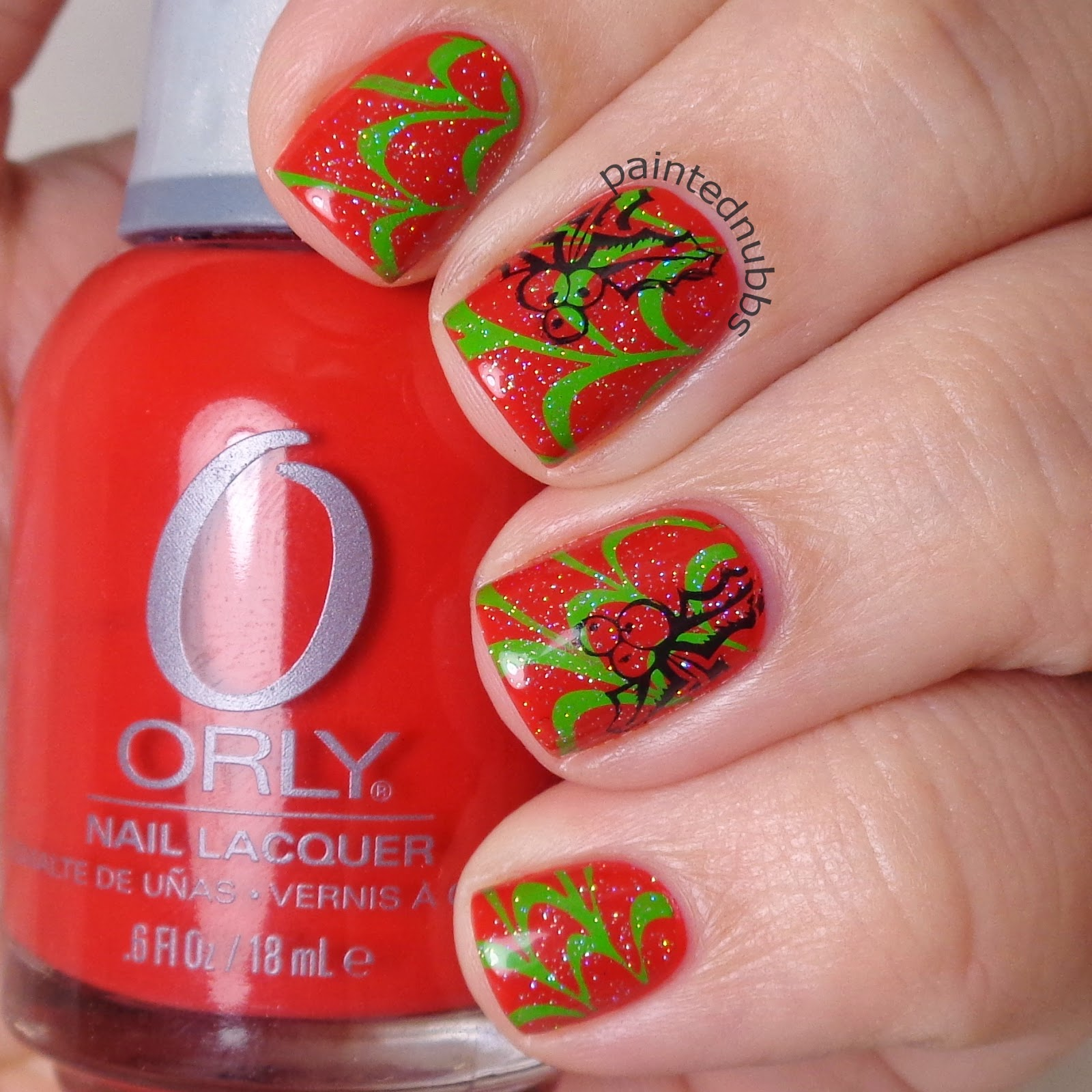 Painted Nubbs Twinkie Nail Art Challenge Week 3 Red And Green