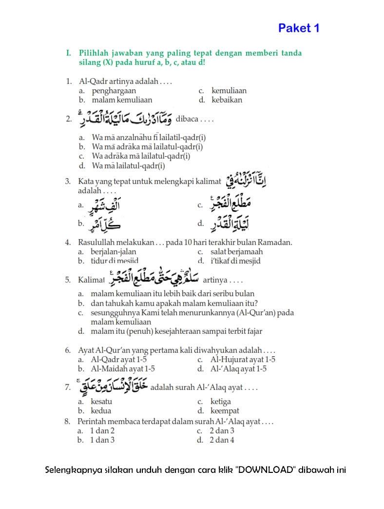 Download Soal Uts Ganjil Pendidikan Agama Islam Kelas 6