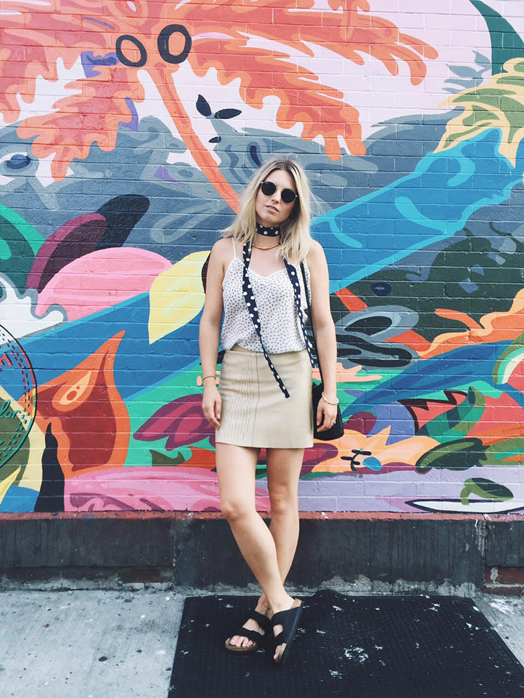 Leather mini skirt, black Arizona Birkenstocks, polka dot neck scarf, Brooklyn, street art, Converse, Fashion Over Reason style