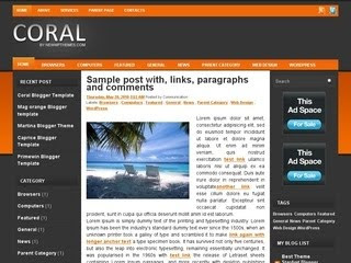 Coral Blogger Template