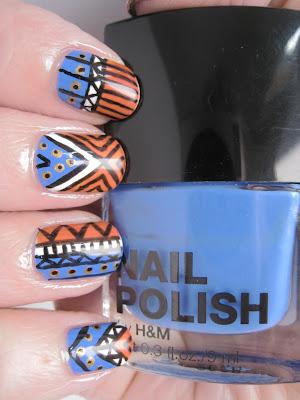 Orange-blue-white-black-gold-tribal-nail-art-Barry-M-Models-Own