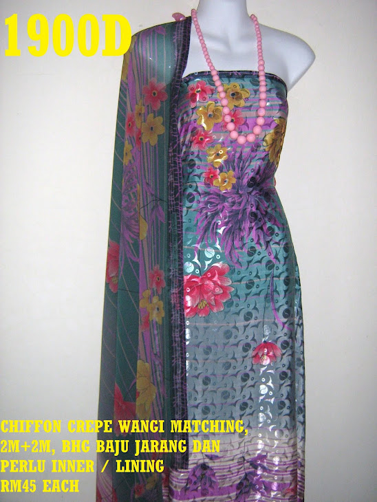 CCW 1900D: CHIFFON CREPE WANGI MATCHING, 2M+2M, BHG BAJU JARANG DAN PERLU INNER / LINING