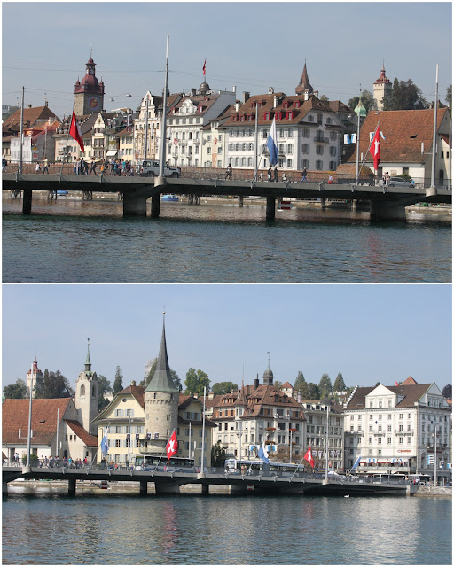 The city of Lucerne can be seen from the Lake Lucerne in Switzerland