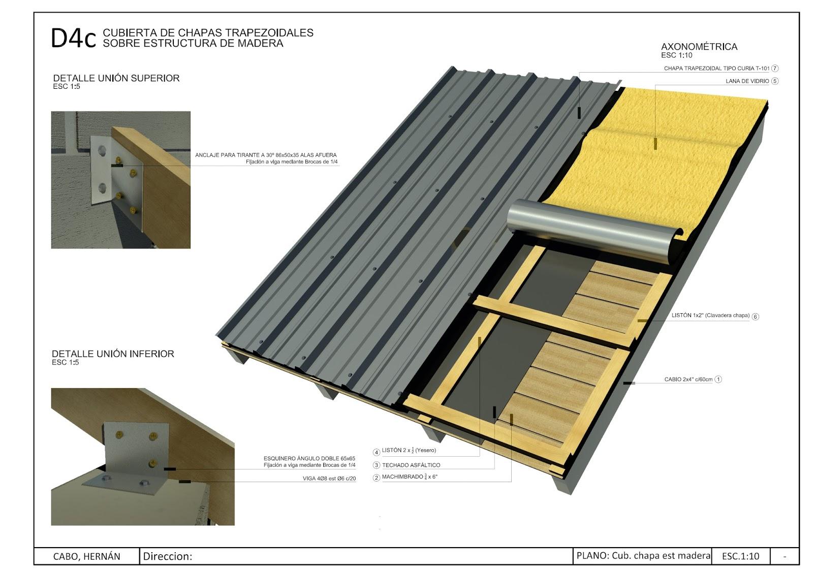 Detalles constructivos cad detalle cubierta met lica con estructura de madera - Estructuras de madera para techos ...