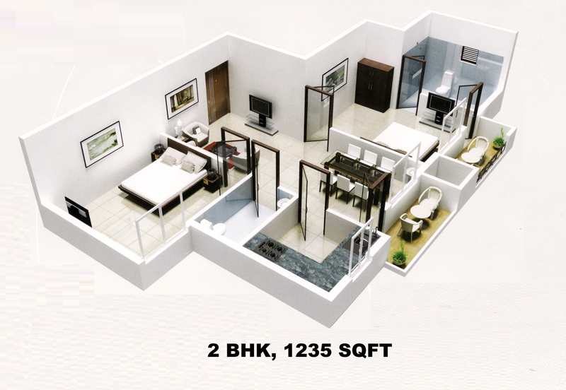 Foundation dezin decor 3d view of 1bhk 2 bhk for 2 bhk house designs in india