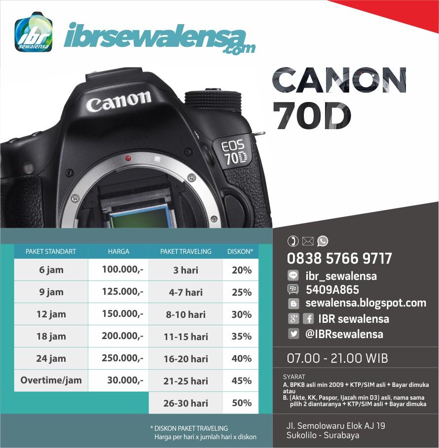 70D. Harga sewa kamera DSLR canon EOS 70D body only Surabaya