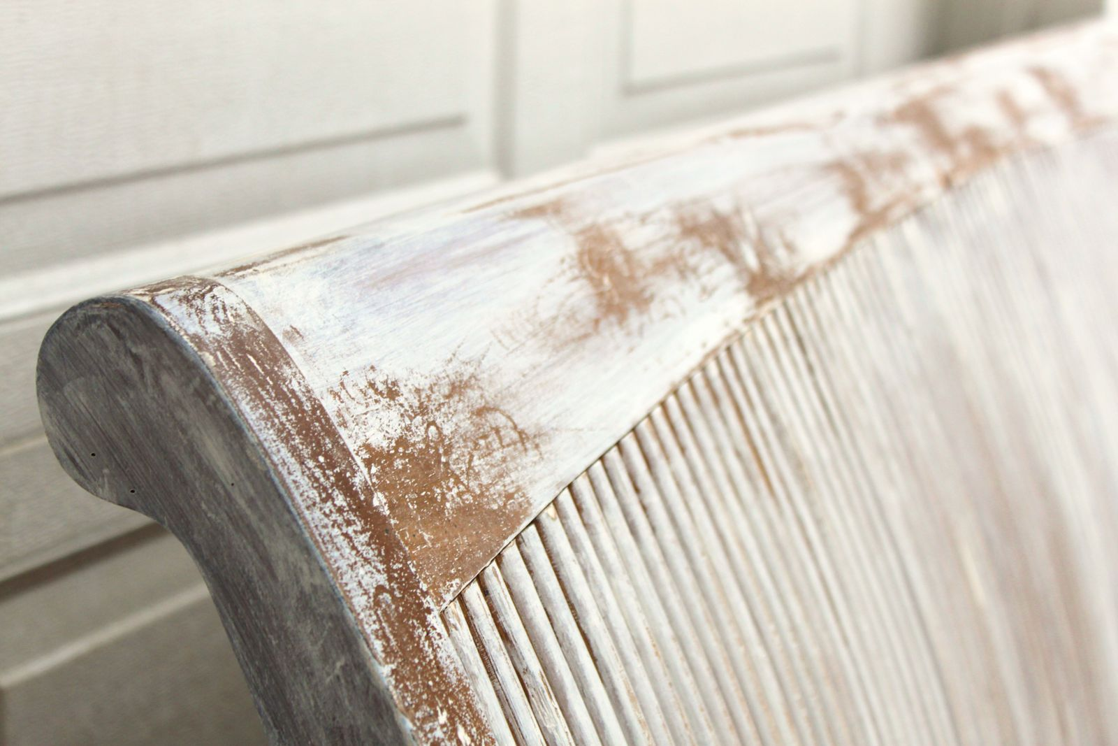 Queen Whitewashed Farmhouse Headboard} — Vintage Farm Furniture