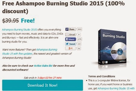 Miễn phí bản quyền Ashampoo Burning Studio 2015