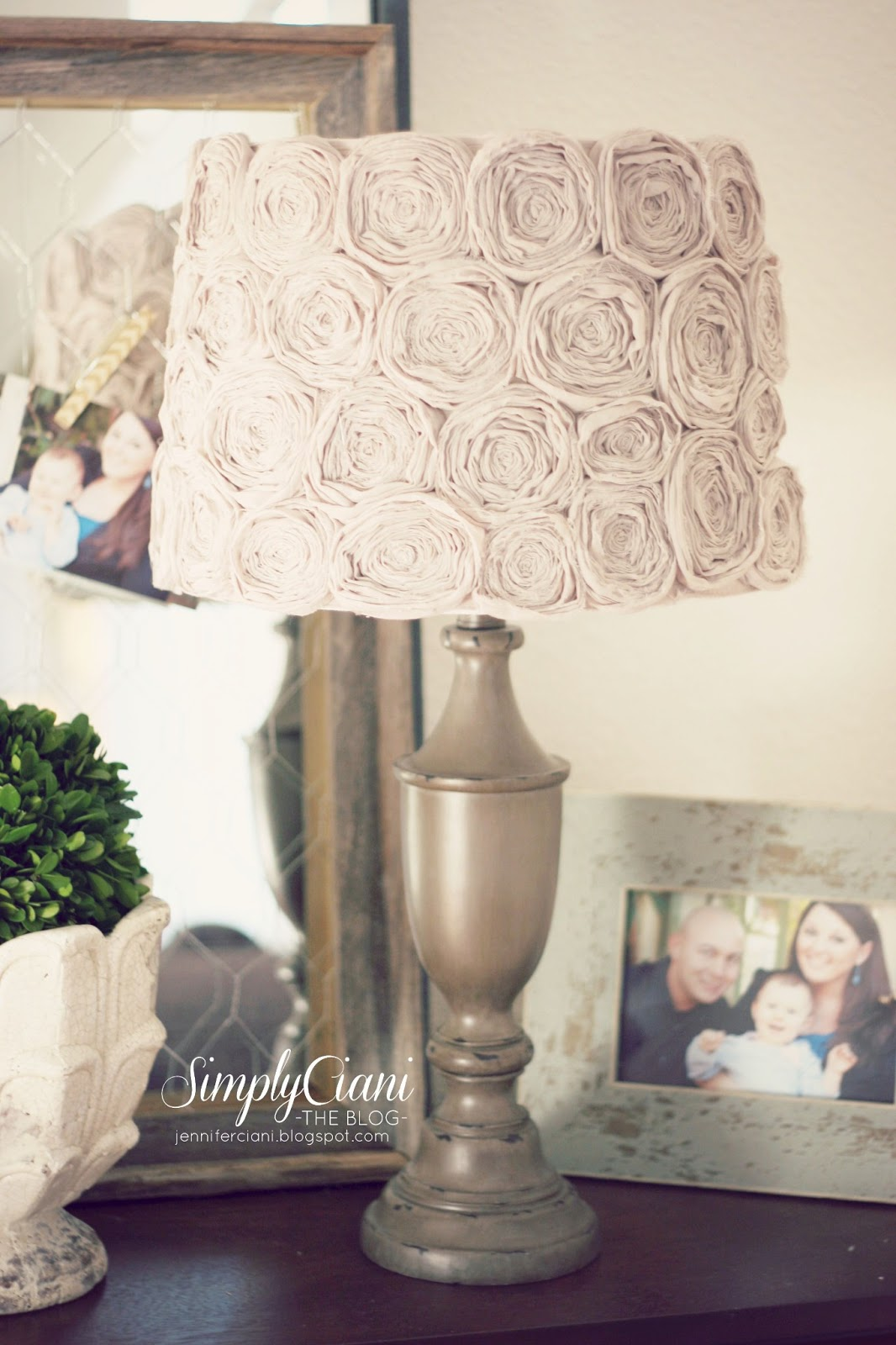 diy shabby chic rosette lamp shade simply ciani. Black Bedroom Furniture Sets. Home Design Ideas