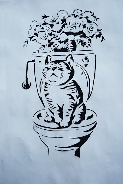вытынанка котик на унитазе, вытынанка для дома, кот в туалете, вырезалка, котик за интимным занятием
