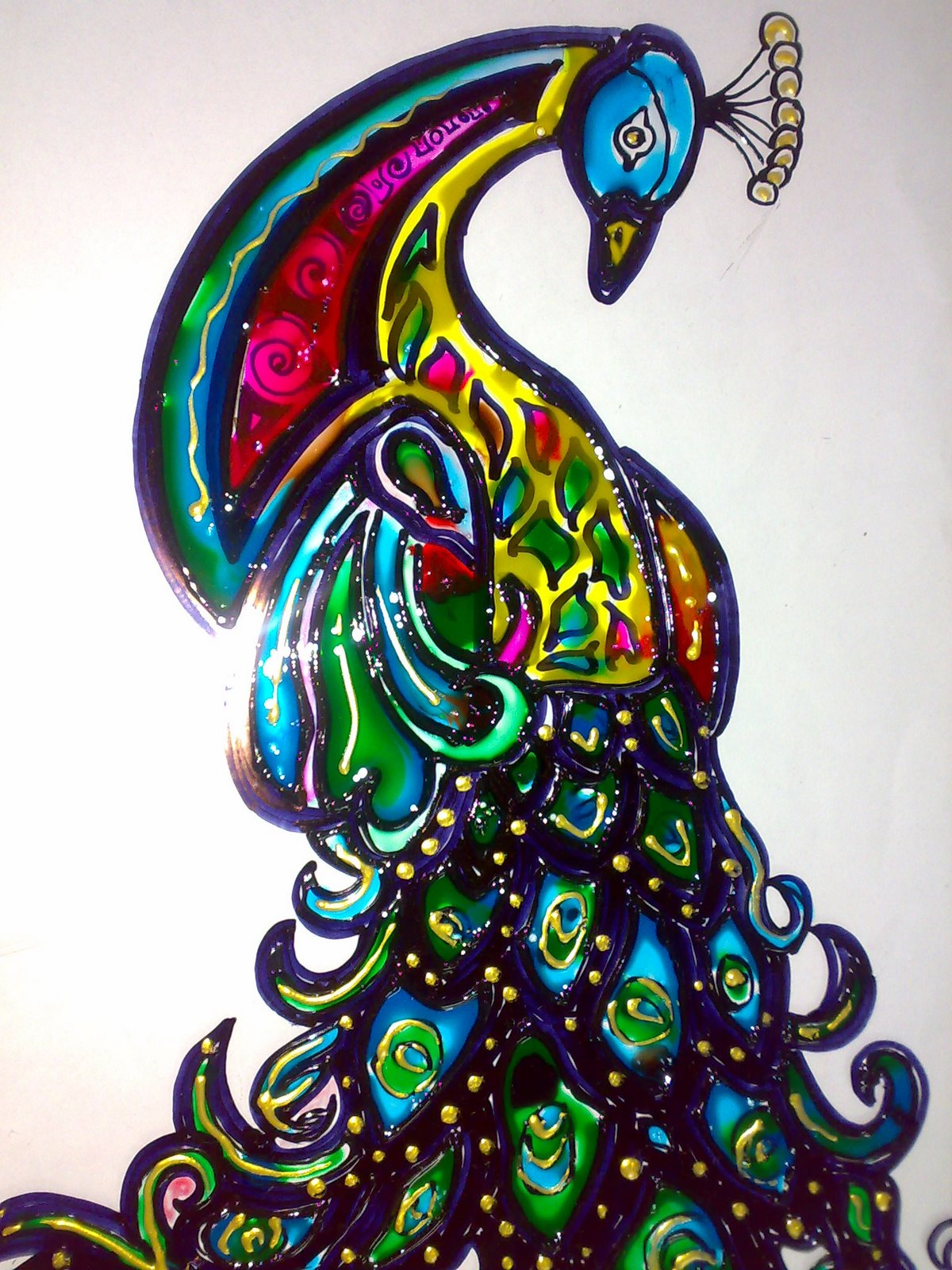 Peacock designs for glass painting - photo#21