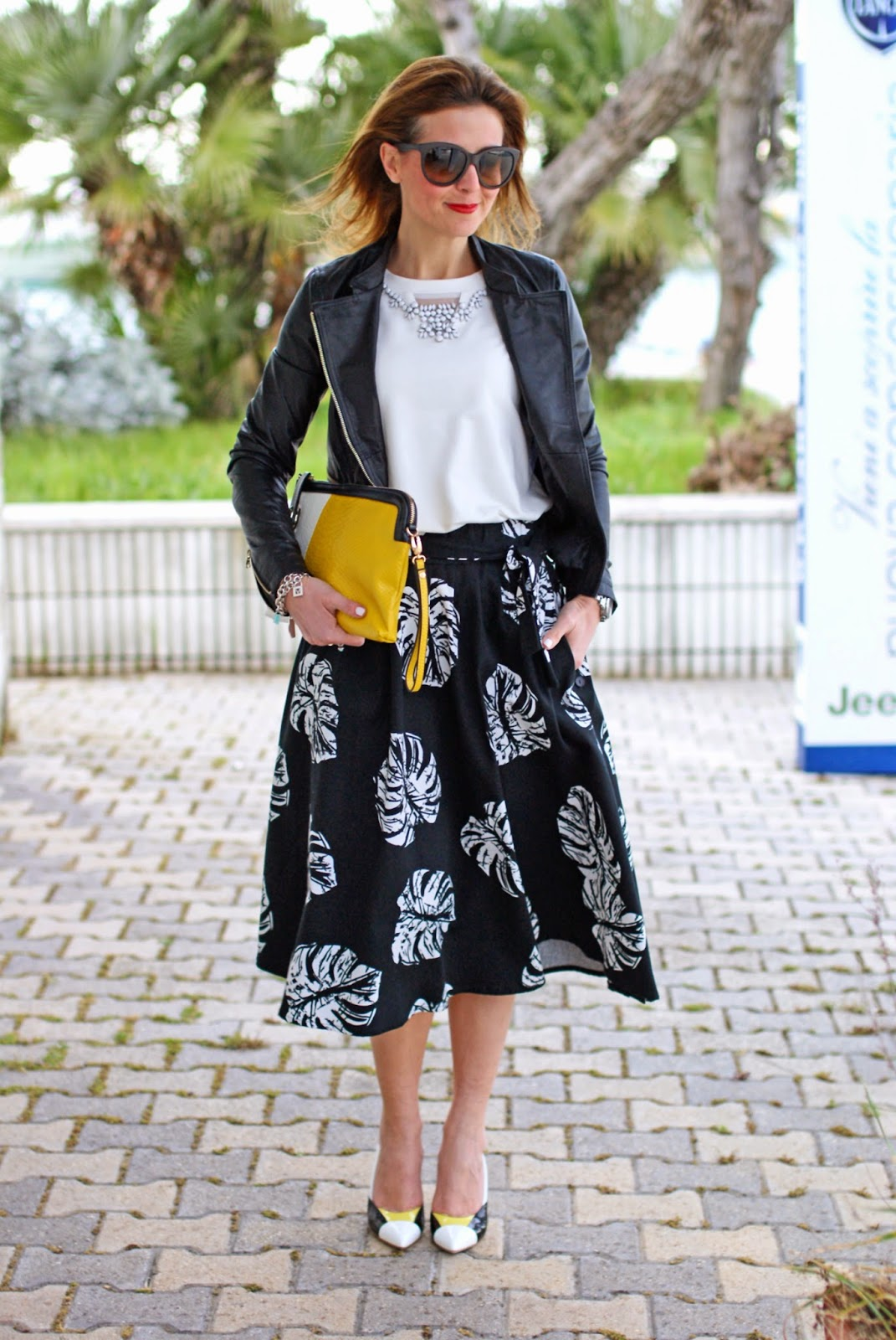 Giorgia & Johns felpa pietre e tulle, leather peplum jacket, palm leaf print skirt, Loriblu heels, Fashion and Cookies, fashion blogger