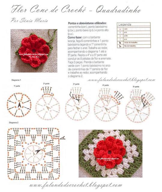 Вязание крючком цветочных квадратов схемы
