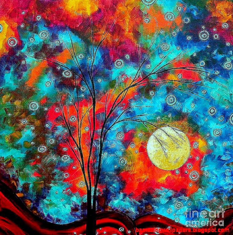 Colorful Abstract Tree Paintings Widescreen 2 HD Wallpapers