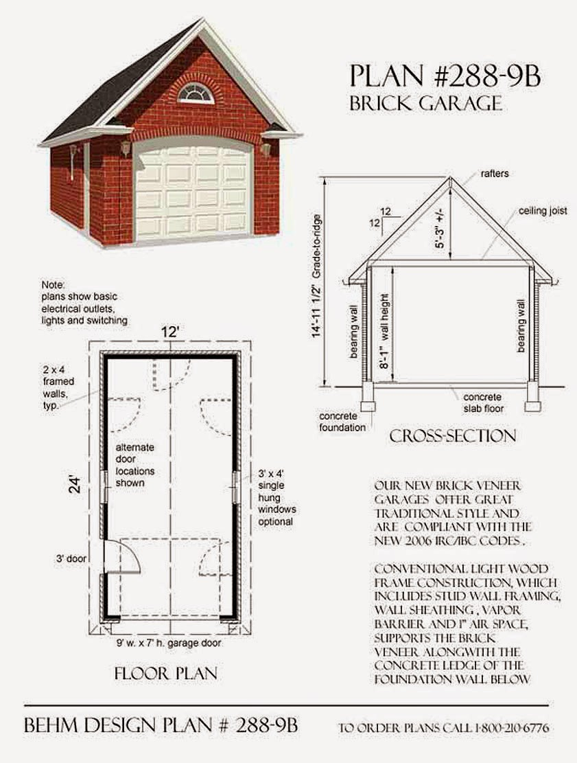 Garage plans blog behm design garage plan examples for Brick garage plans