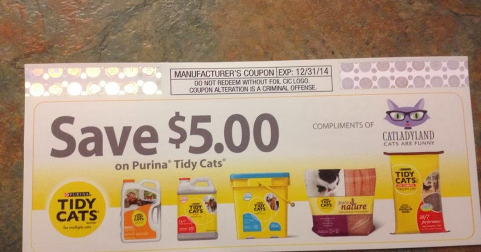 Coupons for cat litter can be found online, in the Sunday newspaper, or stuck on the box in peelie form. Stock up at your local.