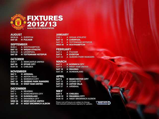 Premier League fixtures wallpaper manchester united 2012-2013