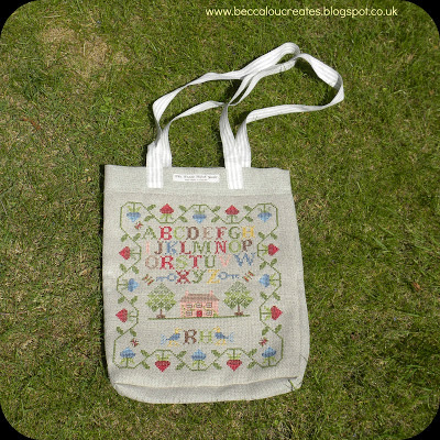 Embroidered Sampler Shopping Bag