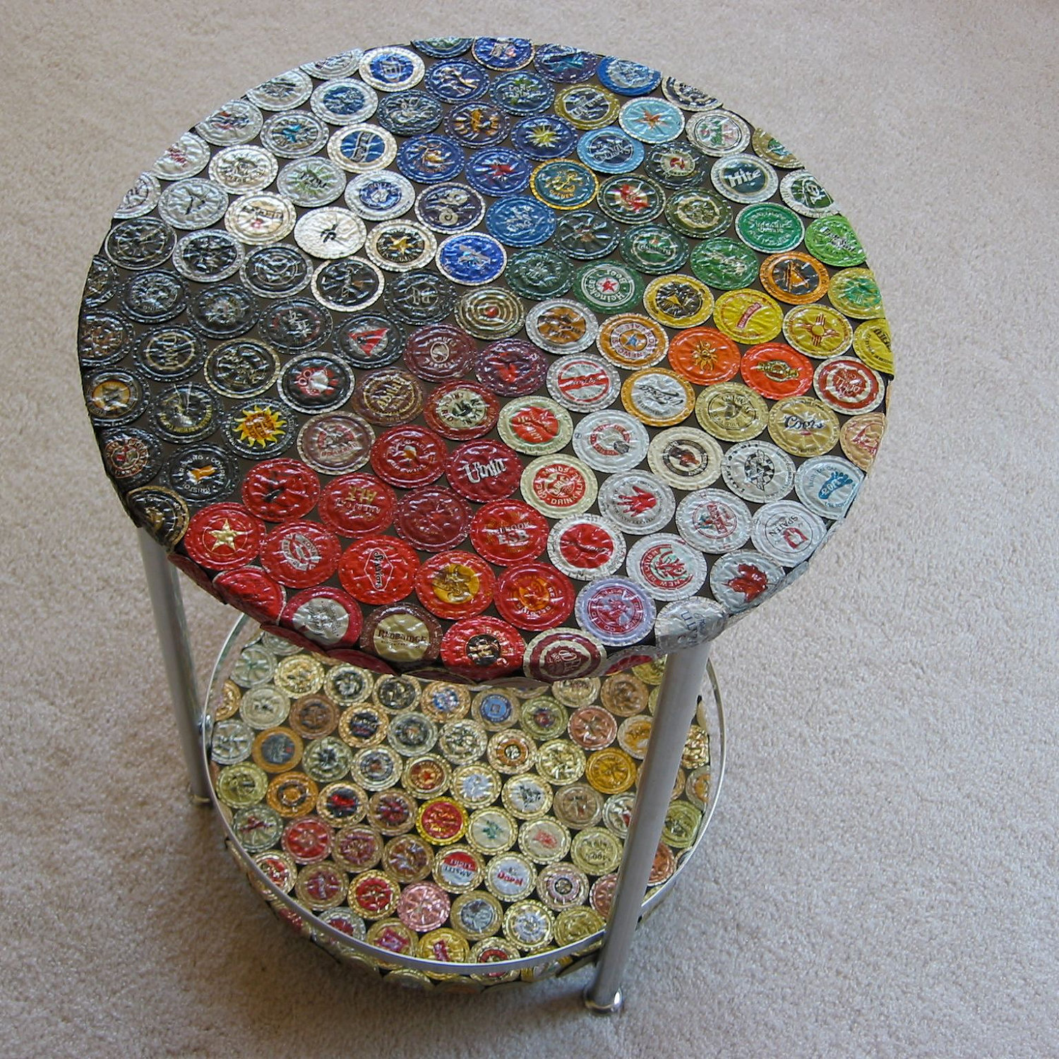 How to recycle bottle cap design on table floor and walls for Creative ideas with bottle caps