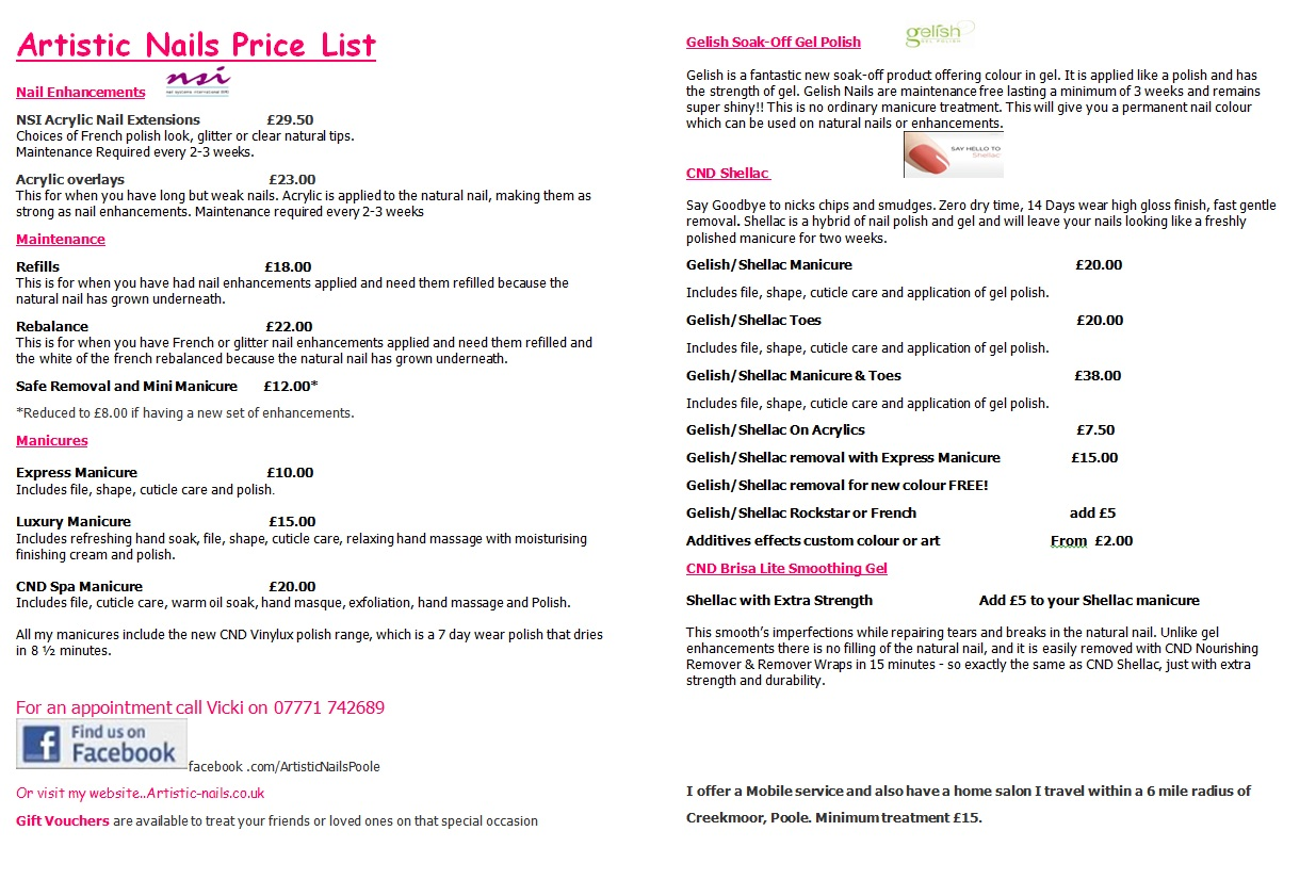 Artistic Nails Poole UK: Price List