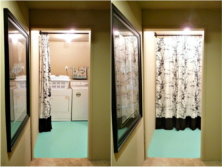 Basement Update Easy Solution for Hiding an Ugly Washer and Dryer