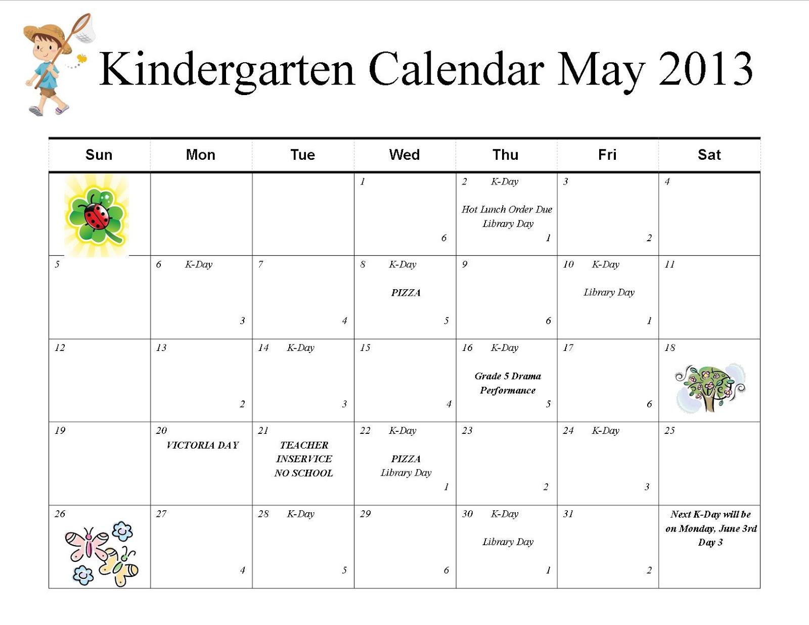 May Calendar Preschool : Mrs nel s kindergarten news