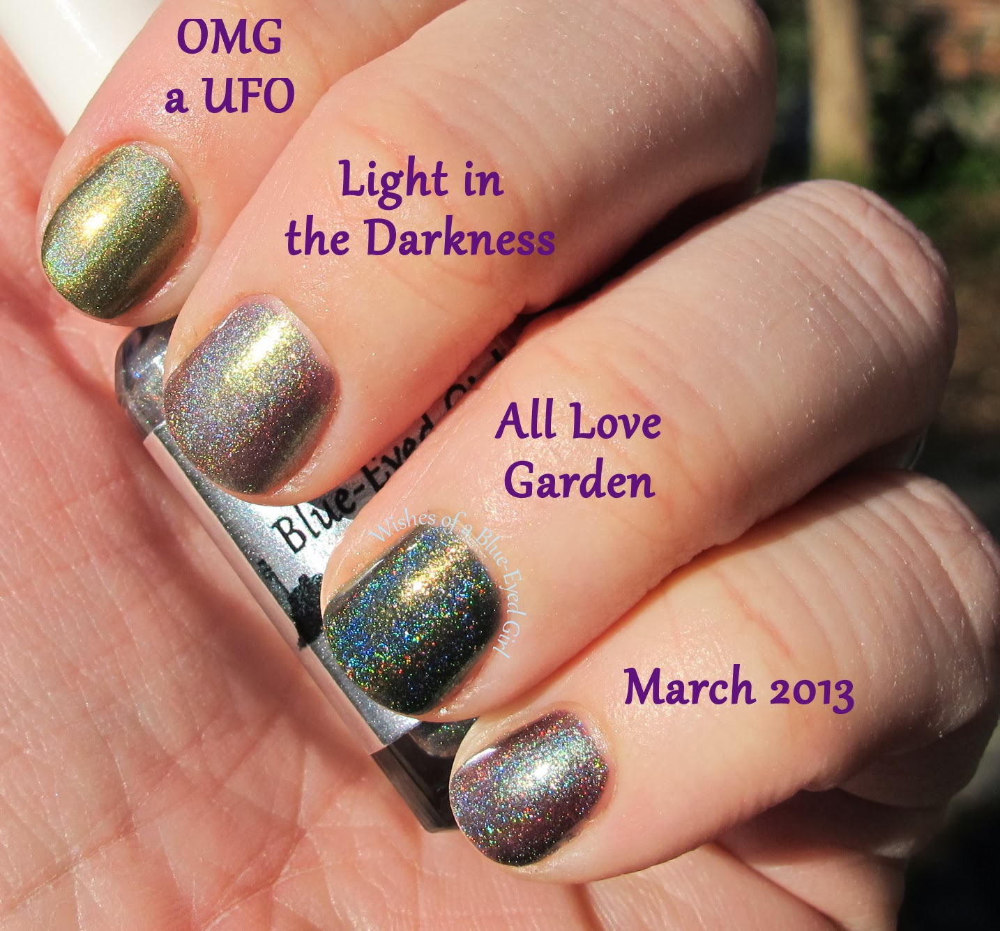 Wishes of a Blue-Eyed Girl: Comparison Friday: Olive Green Holos