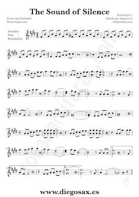 Tubepartitura The Sound of Silence de Simon y Garfunkel partitura de Trombón, Tuba y Bombardino El sonido del silencio música de pop - rock