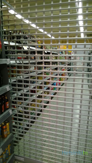booze behind bars in a Finnish supermarket