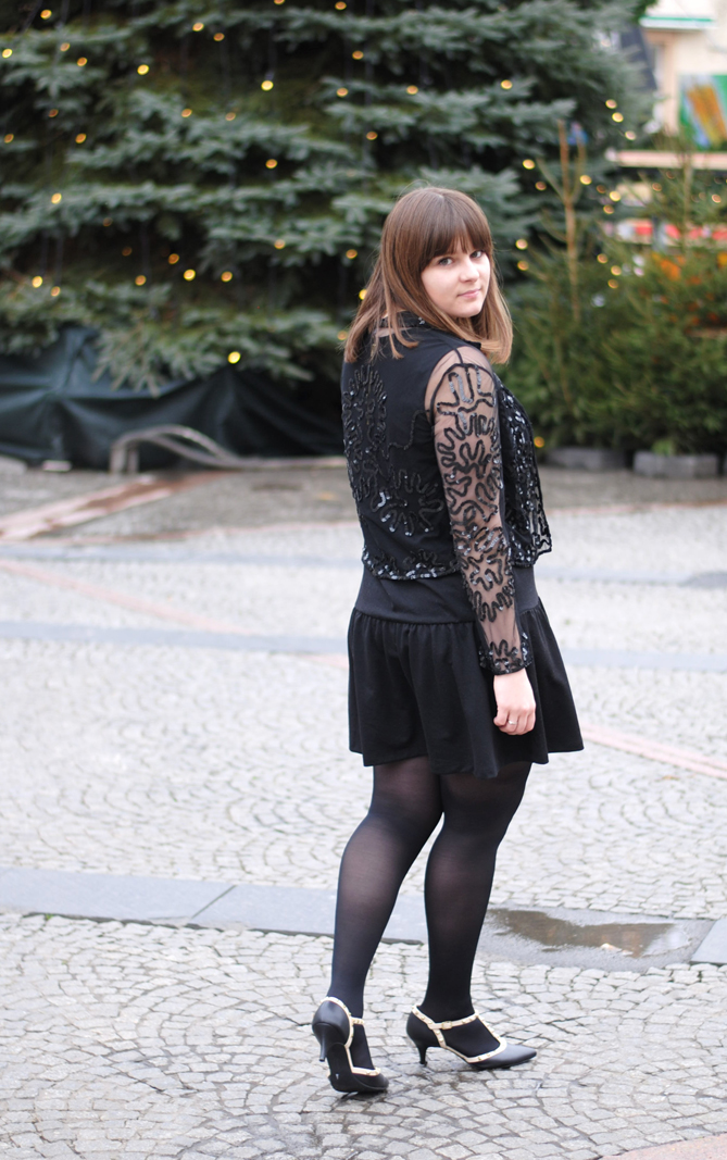 christmas outfit little black dress sequin transparent jacket