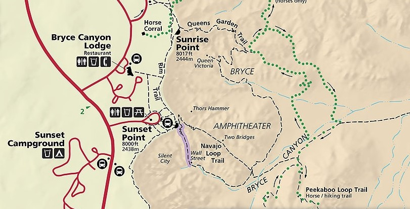 Day Hiking Trails Photo map album of Bryce Canyon NPs Queens