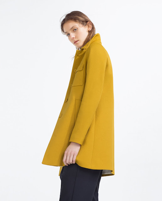zara mustard coat, peter pan coat mustard,