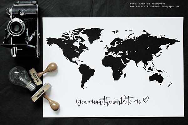 världskarta, karta, kartor, svartvit, världskarta med text, you mean the world to me, stämplar, gammal kamera, tavlor, tavla, poster, posters, konsttryck, print, prints, webbutik, webshop, plakater, nettbutikk, nettbutikker, inredning, inredningsdetaljer, svartvita, svart och vitt, vit, vita, glödlampa, interior