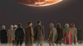 The Doctors look up at their home in Doctor Who: Day of the Doctor