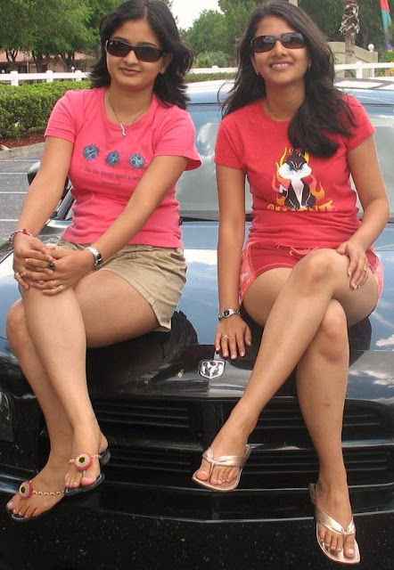 indian desi girls feet legs on car