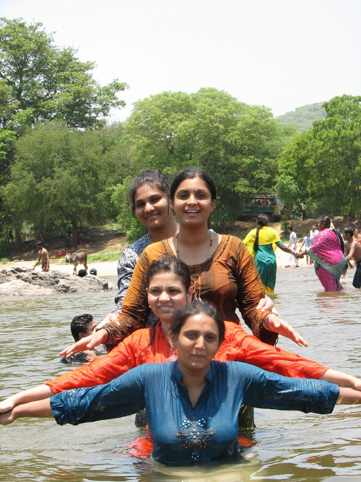 Healthy Tips, Live Life Up to 100 Years by Indian Desi Aunty and Girls in water