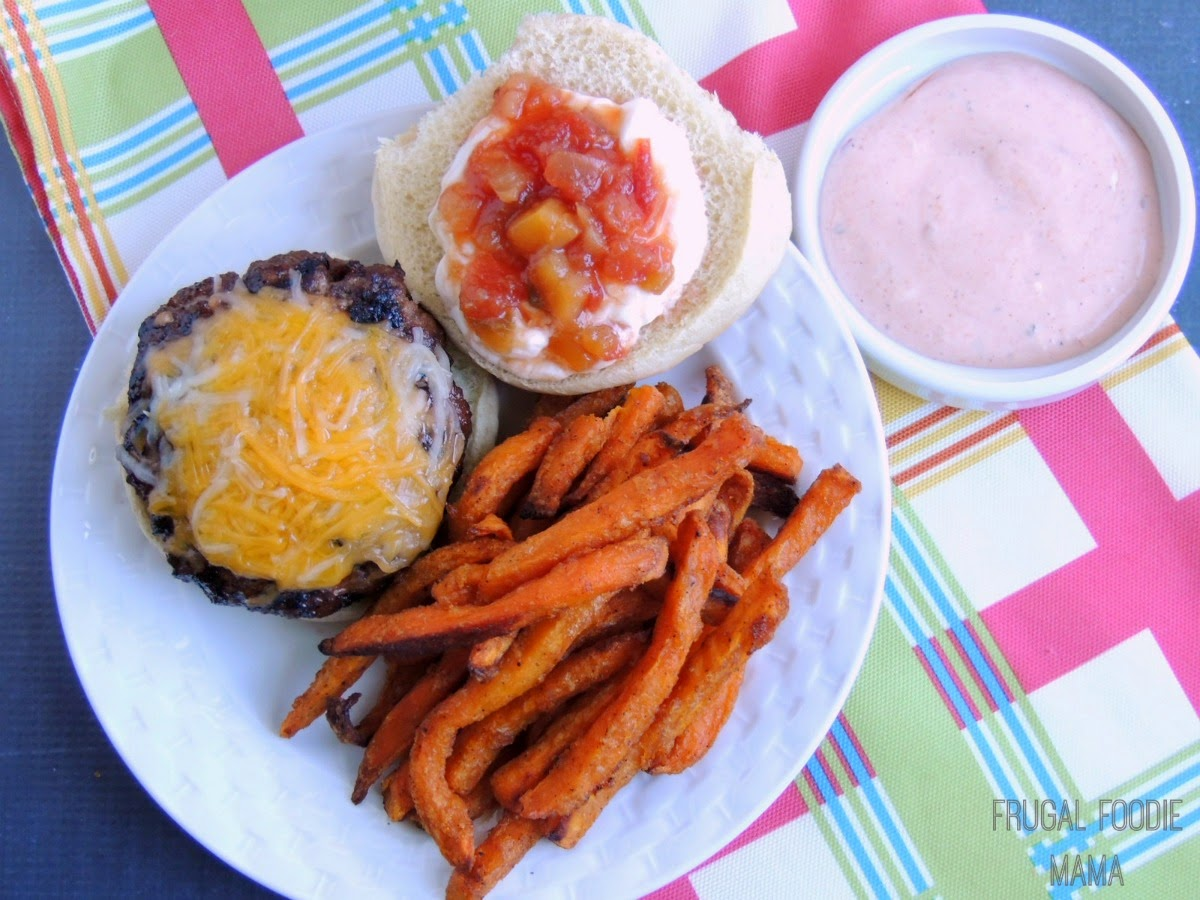 Easy Taco Burgers paired with Alexia Spicy Sweet Potato Fries with Taco Sauce/Ranch Dip