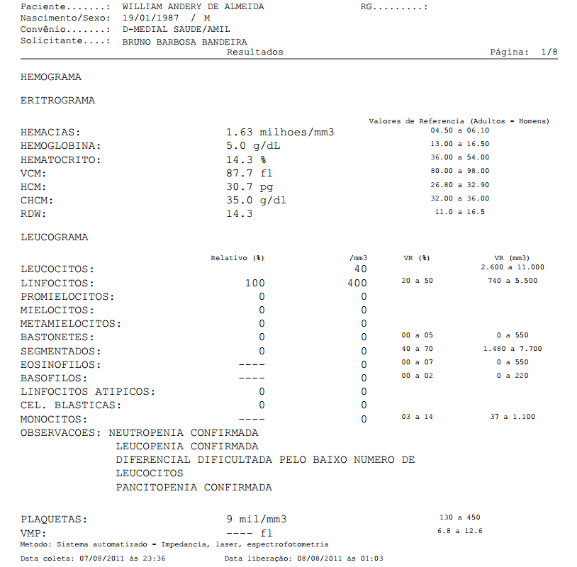 Bastonetes 0 no exame de sangue