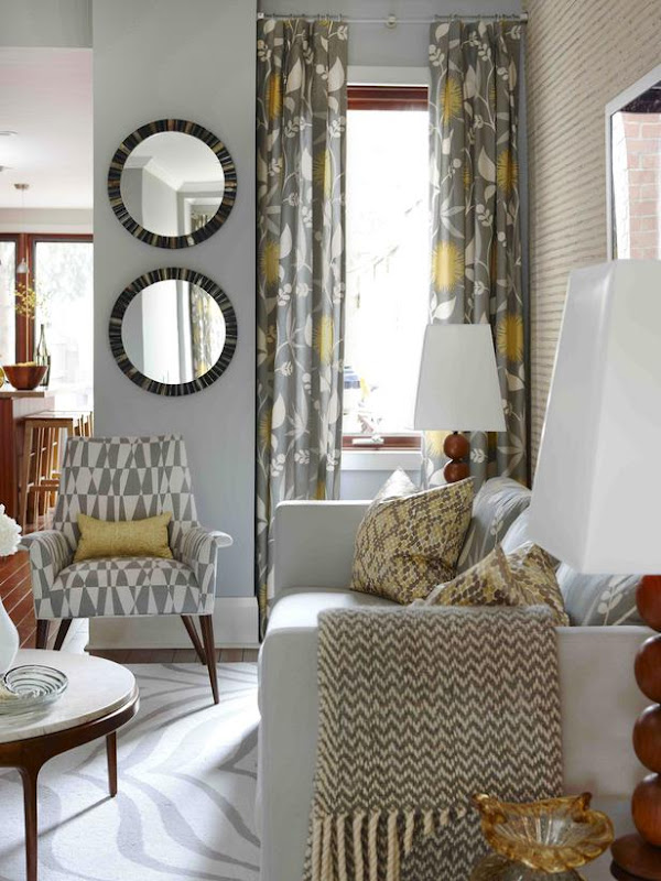 Yellow and Grey Living Room Curtains