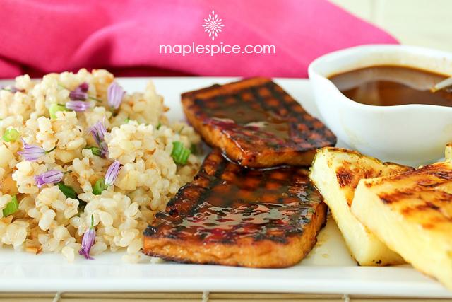 Grilled Hawaiian Tofu with Baked Macadamia Nut & Coconut Brown Rice. Vegan and Gluten-Free Recipe.